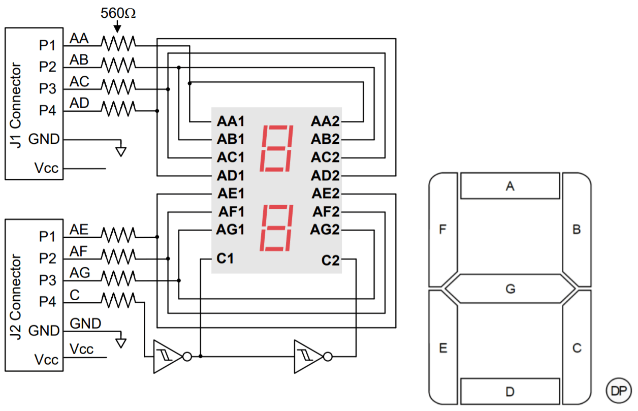 Schematic of the Digilent Pmod dual 7-segment display