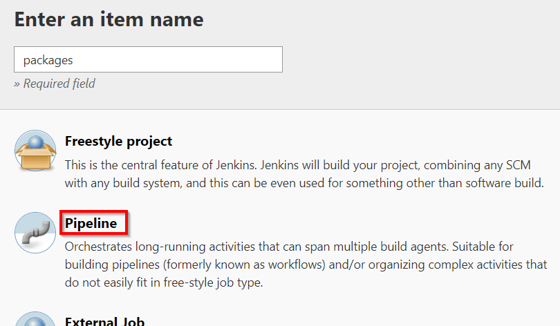 New pipeline job in Jenkins