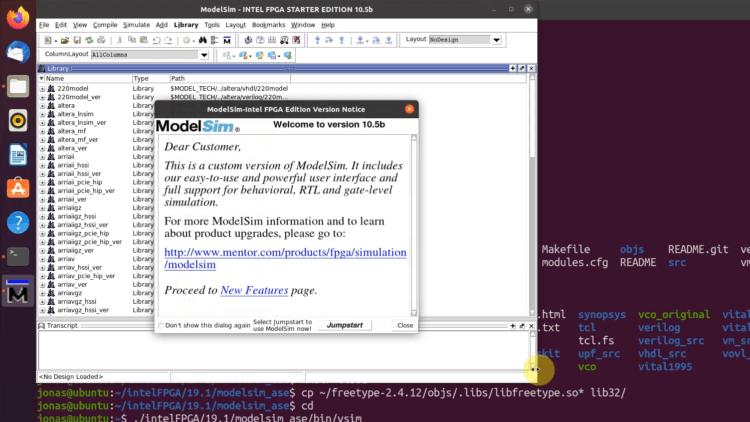 ModelSim-Intel FPGA Edition running in Ubuntu 20.04