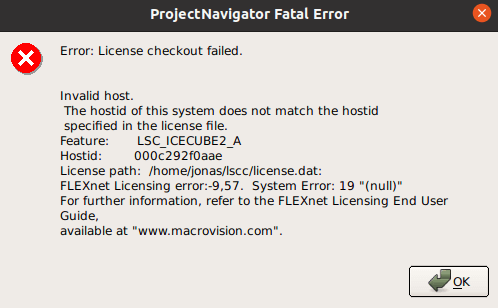 Error: License checkout failed. Invalid host. The hostid of this system does not match the hostid