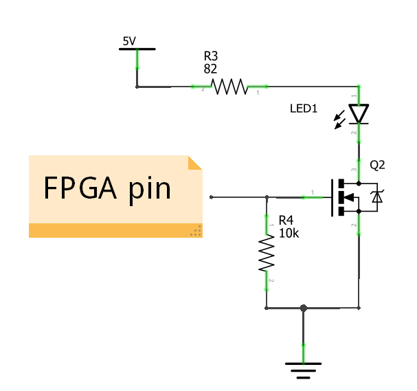 Schematic of FPGA LED driver using MOSFET