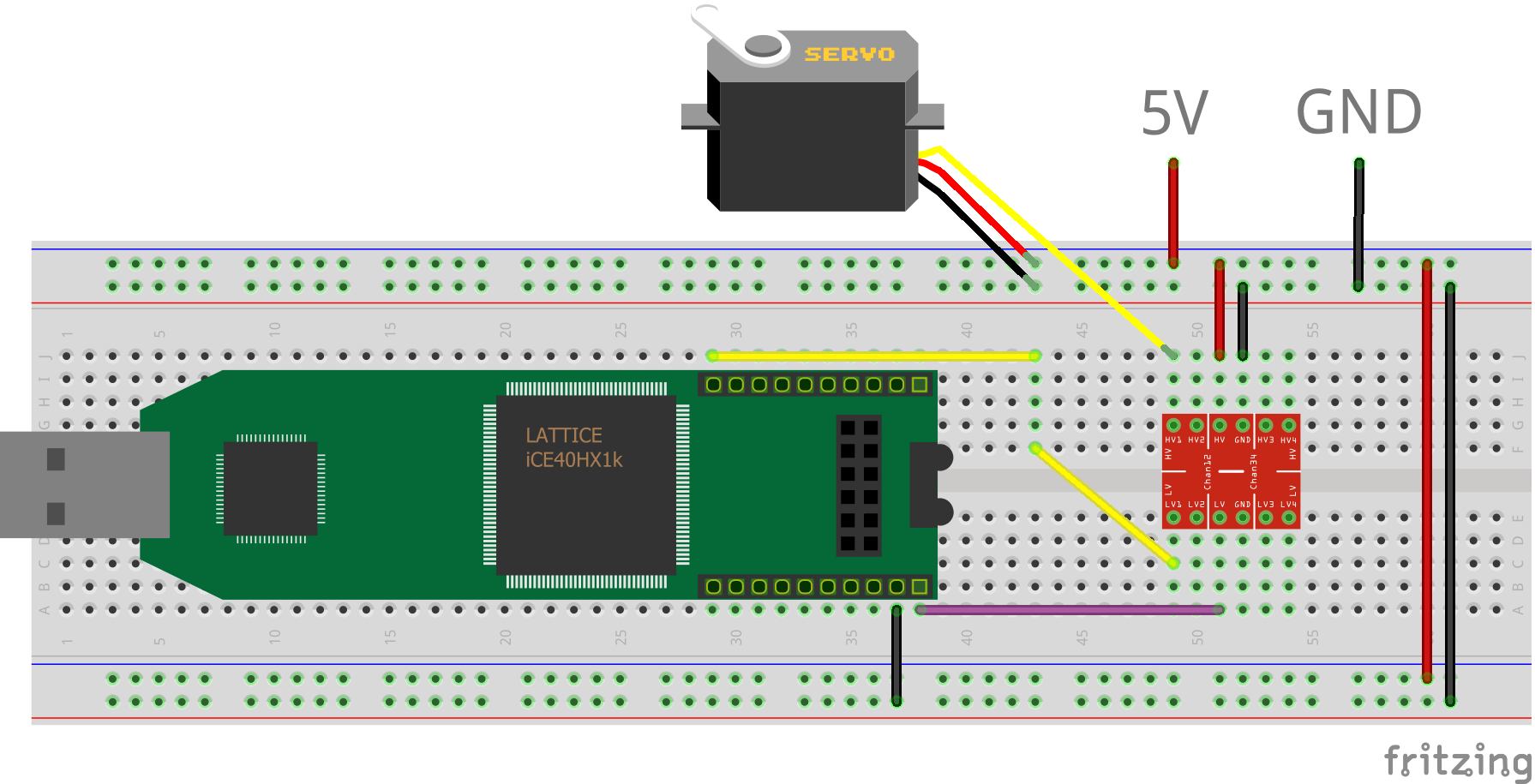 Breadboard layout of Lattice iCEstick connected to servo through a level shifter