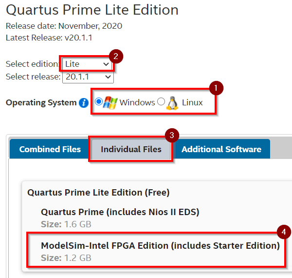 """Select the Lite edition and choose """"ModelSim-Intel FPGA Edition (includes Starter Edition)"""""""