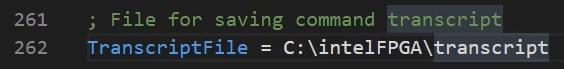 TranscriptFile = C:\intelFPGA\transcript